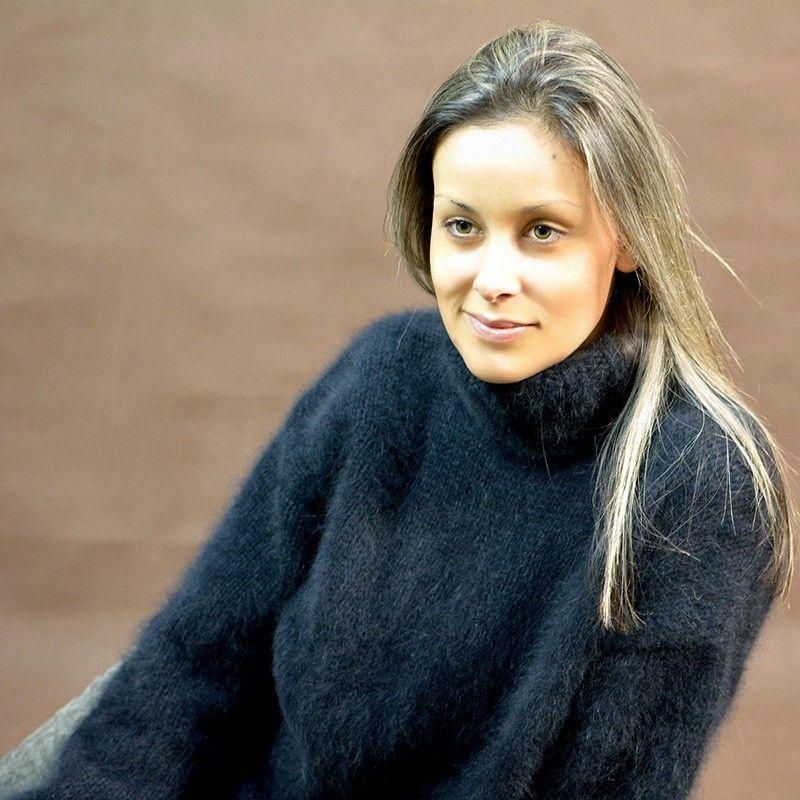Hand knit pure angora sweater Black Turtleneck by Extravagantza