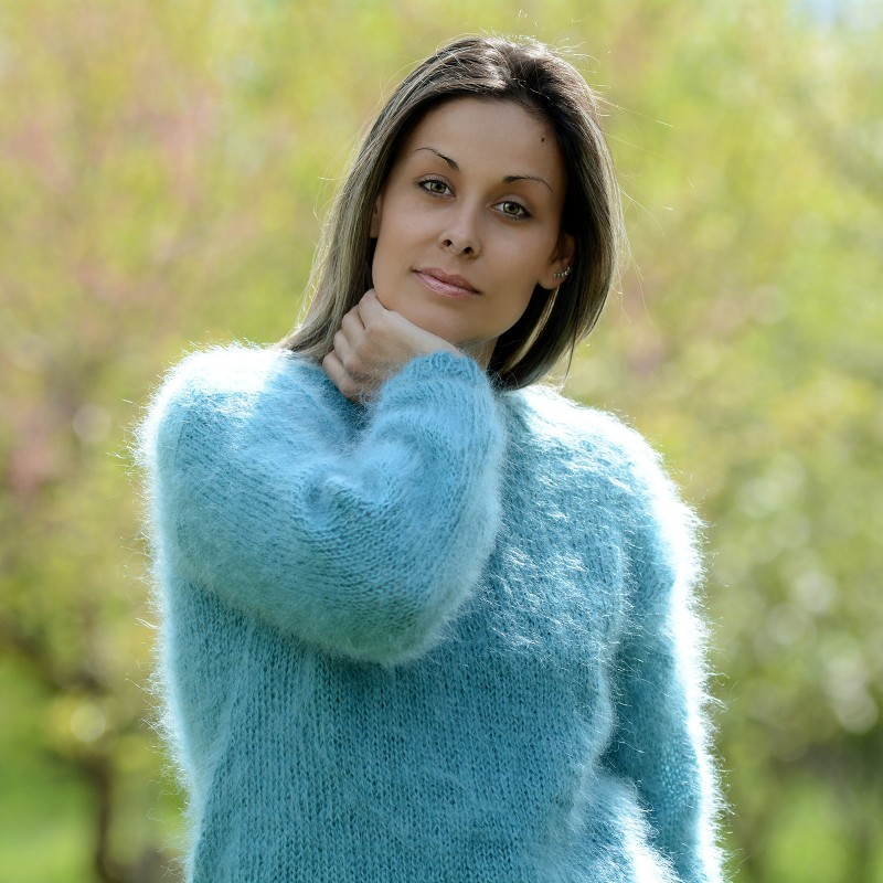Dull Blue hand knitted crew neck mohair sweater by Extravagantza