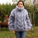 Hand Knit Mohair Sweater Gray mix Fuzzy Turtleneck heavy weight 10 strands