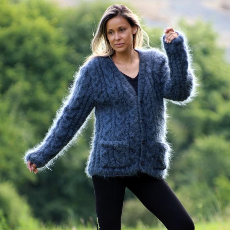 Hand Knit Mohair cardigan dark gray v-neck Handgestrickt pullover by Extravagantza