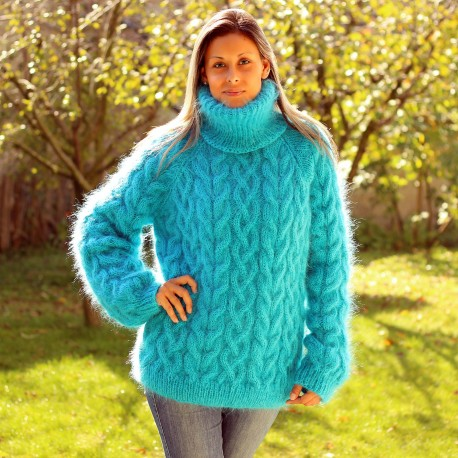 Cable Hand Knit Mohair Sweater Turquoise Fuzzy Turtleneck Handgestrickt pullover by Extravagantza