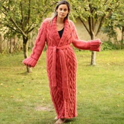 Coral Hand Knit Mohair Coat Cardigan Shawl Fuzzy With a Belt