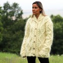 Hand Knitted Mohair Cardigan White Cream color Fuzzy Shawl Collar Jacket
