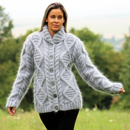 Hand Knit Mohair cardigan Light Gray shawl collar Handgestrickte pullover by Extravagantza