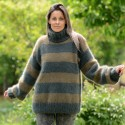 100% Pure Angora Hand Knit Sweater Striped Turtleneck Neck Green and dark green