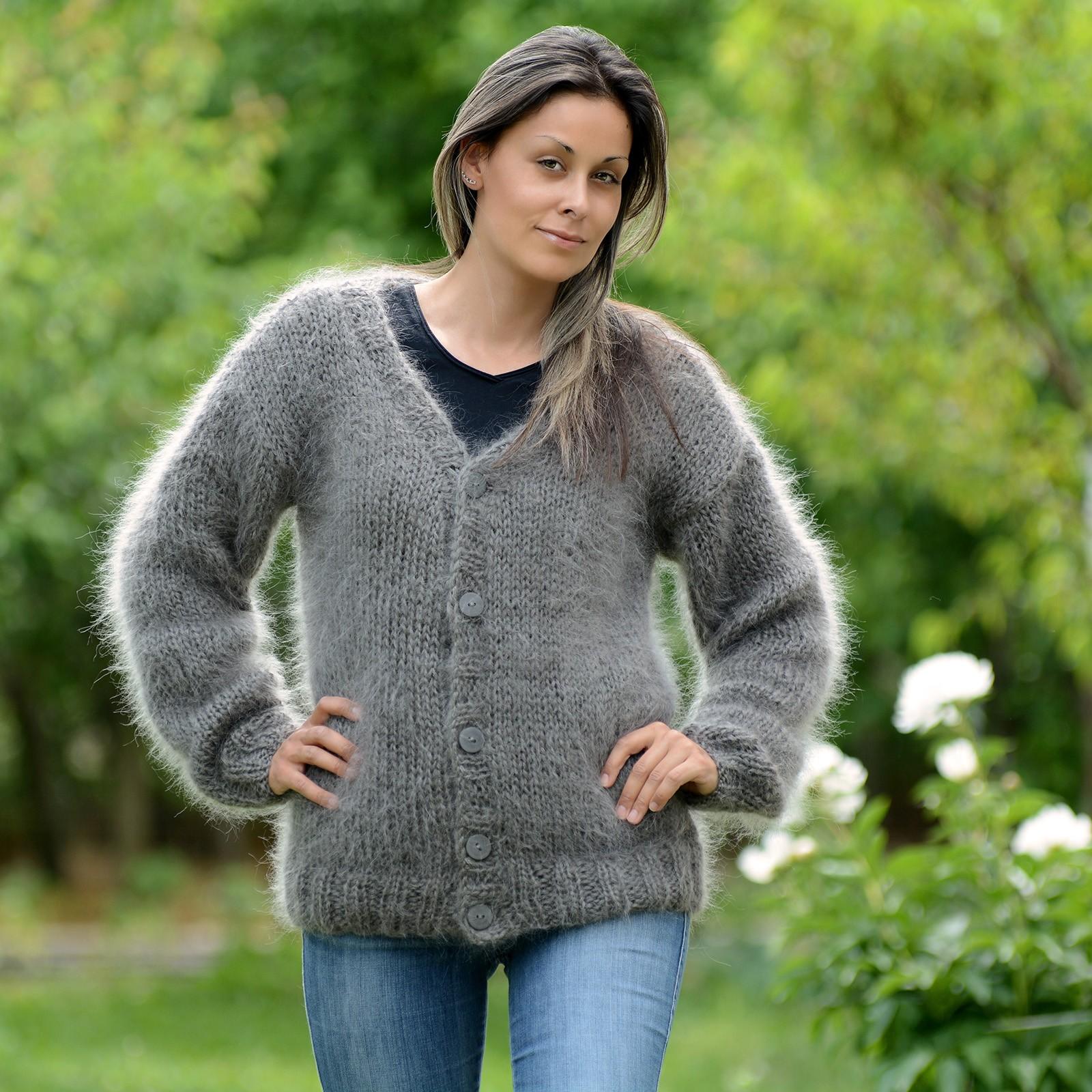 Hand Knit Mohair Cardigan Gray Fuzzy V Neck Jacket