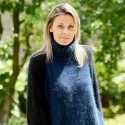 Hand Knit 100% Pure Angora Turtleneck Sweater Blue Black color