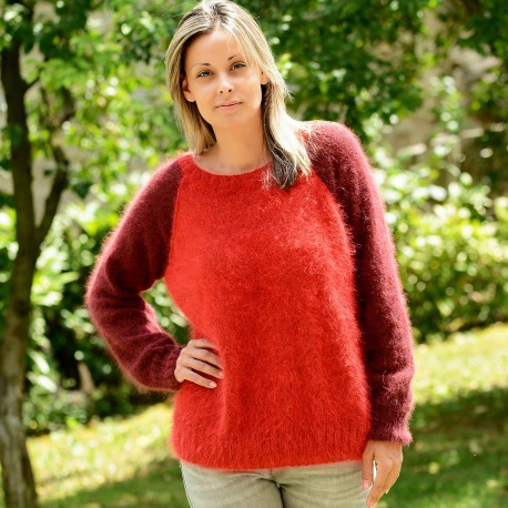 Hand Knit 100% Pure Angora Sweater Red color crew neck