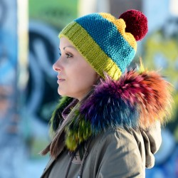 Hand Knitted Chunky Wool Green Red Blue Yellow Color Pom Pom Multicolor Winter Soft Hat