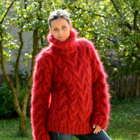 Cable Hand Knit Mohair Sweater red Fuzzy Turtleneck Handgestrickt pullover by Extravagantza