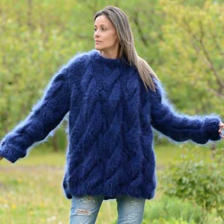 Hand Knit Mohair Sweater BLUE Fuzzy Turtleneck 10 strands by Extravagantza Handgestrickt pullover
