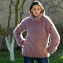 Hand Knit Mohair and Wool Sweater Dark Pink Fuzzy Turtleneck