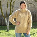 Beige Hand Knitted 100 %  Wool Sweater Turtleneck Pullover