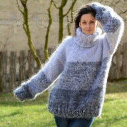 Hand Knitted Mohair Sweater Grey Stripes Fuzzy and fluffy Turtleneck Handmade by Extravagantza