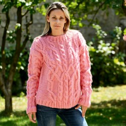 Cable Hand Knitted 100 % Wool Sweater Pink Crew neck  pullover