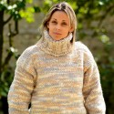 Cable Hand Knitted Chunky 100 % Pure Merino Wool Turtleneck Sweater Melange color