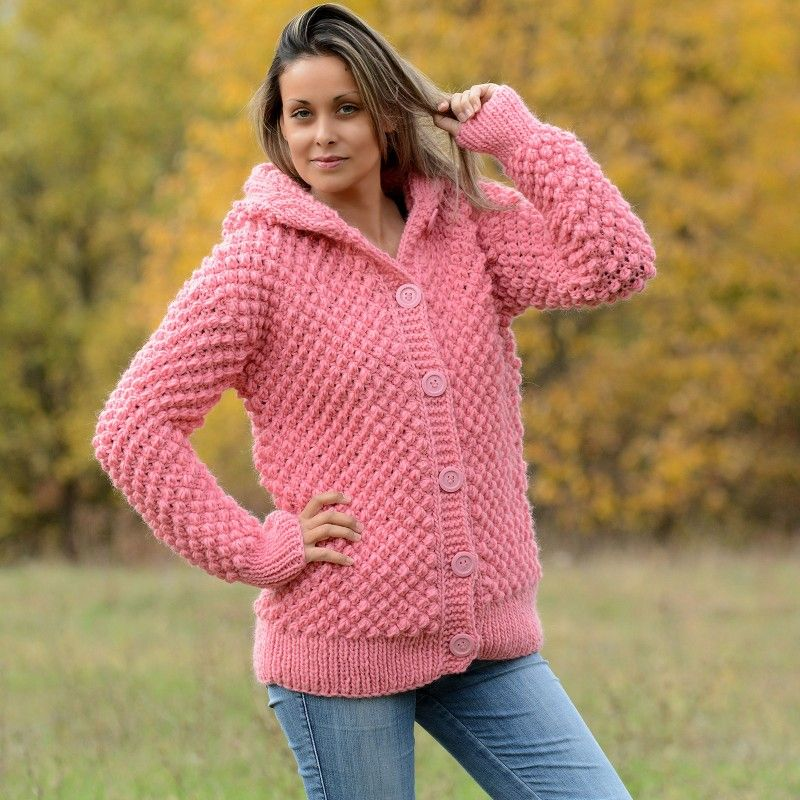 Cable Hand Knitted High Quality 100 % Pure Wool Hooded Cardigan Pink