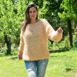 Summer Oversized Slouchy Hand Knitted 100 % Pure Wool Sweater Peach color boat neck
