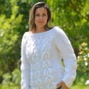 Cable Hand Knitted Mohair Sweater White Fuzzy Crew neck Pullover