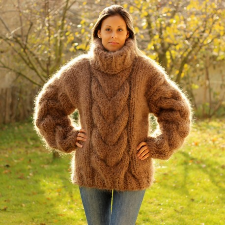 Hand Knit Mohair Sweater BROWN Fuzzy Turtleneck 10 strands handgestrickte pullover by Extravagantza