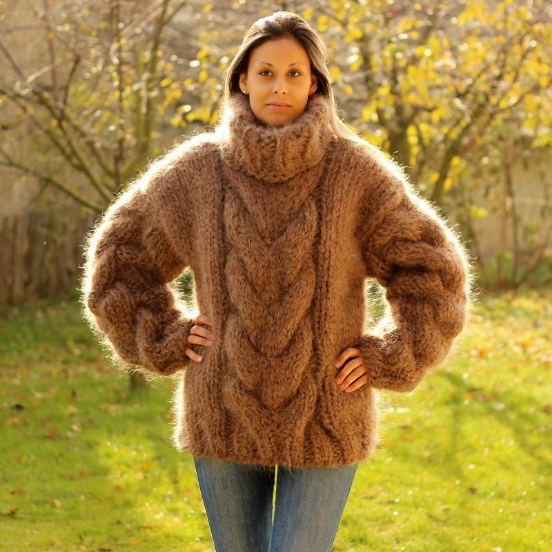 Hand Knit Mohair Sweater BROWN Fuzzy Turtleneck 10 strands handgestrickte pullover by Extravagantza