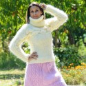 Super Sexy Cable Hand Knit Mohair Sweater White color Fuzzy Turtleneck