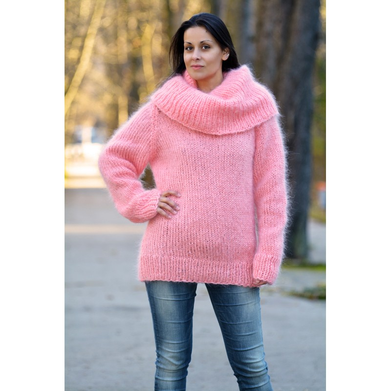 Sexy Woman Light Pink Super Sexy Hand Knitted Cowlneck