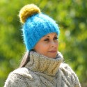 Hand Knitted Mohair Hat Cable Blue Yellow Pom Pom Multicolor Winter Soft Beanie Warmer