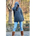 Hooded Cable Hand Knitted Chunky 100 % Pure Wool Sweater Dark Grey Jumper