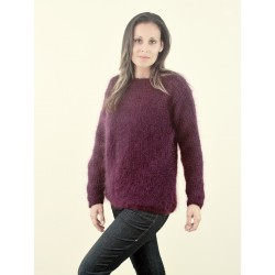 Super Sexy Hand Knitted Mohair Sweater Dark Lilac Fuzzy Boat Neck pullover
