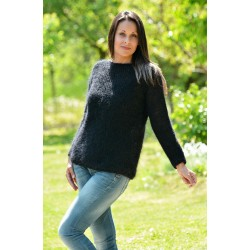 Super Sexy Hand Knitted Mohair Sweater Black Color Fuzzy Boat Neck pullover