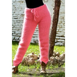 Super sexy Candy Pink Hand Knit Mohair Pants Fuzzy Leggings