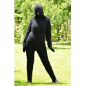 2 Strands Black Hand Knitted Mohair Catsuit Fuzzy and Fluffy Fetish One piece Bodysuit