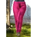 Orchid Color Cable Hand Knitted Mohair Pants Fuzzy Leggings