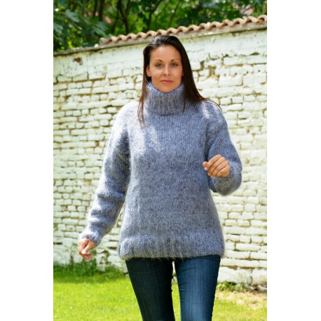 Hand Knitted Mohair Sweater Very Light Grey mix color Fuzzy Turtleneck pullover