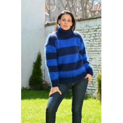 Hand Knit Mohair Striped Sweater blue and dark blue color Fuzzy Turtleneck