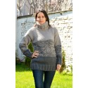 Grey Striped Hand Knit 100 % Wool Sweater Turtleneck Pullover